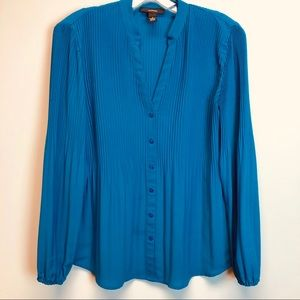 Alfani pleated all over turquoise blouse, size 4